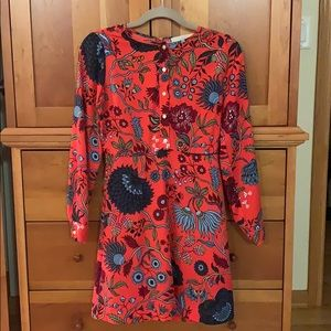 LOFT floral patterned tomato red dress. Like new.